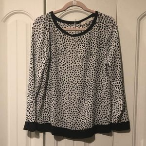 LOFT black & white polka dot long sleeve top